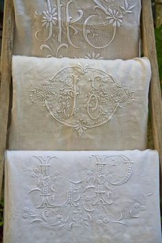 Pillows idea with antique monogrammed linen. Lovely monogrammed linens985-893-0490