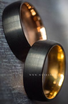 Midnight Rose & Midnight Gold Mens Wedding Band. Available in Multiple Widths and 1/4 Sizes