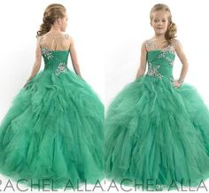 Newest Single Long Sleeves Ball Gown Girl's Pageant Dresses Crew Backless Ruffled Skirt With Beads Body Green Tulle Flower Girl Dress