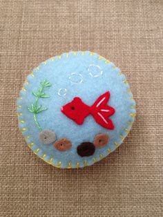 Happy Goldfishes in Pond Felt Magnet by FeltInLove on Etsy