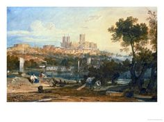 Lincoln Cathedral from the Holmes, Brayford Circa 1802-3 Giclee Print by William Turner - AllPosters.co.uk