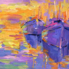 Boats in a sunset impressionistic painting Svetlana Novikova