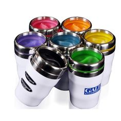 """12 oz Double-walled Acrylic Tumbler with """"S"""" shaped spill-resistant lid Ceramic Mug With Lid, Ceramic Mugs, Custom Tumblers, Custom Mugs, Coffee To Go, Coffee Mugs, Promotional Giveaways, Acrylic Tumblers, Product Offering"""