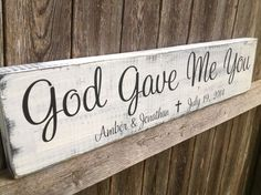 God Gave Me You- Personalized Wedding - Personalized Wedding Gift, Anniversary gift, Bridal Shower Gift Bridal Shower Decorations, Bridal Shower Gifts, Bridal Gifts, Wedding Decorations, 10th Wedding Anniversary Gift, Anniversary Ideas, Anniversary Surprise, Marriage Anniversary, Anniversary Parties