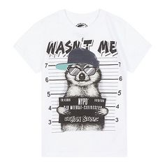 From bluezoo's fantastic range of children's clothing, this t-shirt is a fun choice for casual style. In white, it features a 'Wasn't me' slogan and raccoon print.