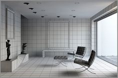 How set up and phisical material to obtain a phisically correct lighting In this image a wireframe visualization of the model. 3d Studio, Wireframe, Barcelona Chair, Furniture, Lighting, Home Decor, Image, Decoration Home, Room Decor