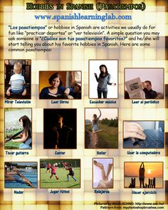 Hobbies in Spanish: a list of activities, likes & dislikes & some practice