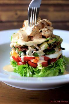 Paleo Cobb Salad & Buffalo Ranch Dressing #justeatrealfood #mypcoskitchen