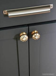 mixing metals in your hardware in the kitchen (cabinet color is Kendall Charcoal- Benjamin Moore)_