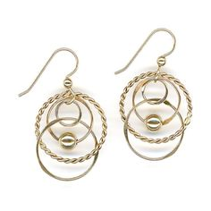 Handmade Gold Earrings, Gold Wire Circles, Beaded Chain Link Earrings, Twisted Wire Hoops, Handcrafted Hammered Dangles, Designed by JWvH