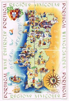 Buy online, view images and see past prices for Régions Vinicoles Portugal vers Invaluable is the world's largest marketplace for art, antiques, and collectibles. Spain And Portugal, Portugal Travel, Vintage Maps, Vintage Travel Posters, Wein Poster, Azores, Map Art, Planer, Illustration