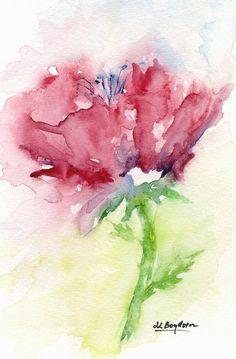 Free Shipping USA-Original Small Red Flower por watercolorwork