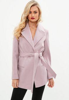 Trench coat rose avec ceinture