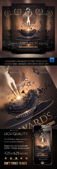 Buy Golden Awards Flyer Template by Rembassio on GraphicRiver. Golden Awards Flyer Template The life of a Flyer is very short in the hands of the consumer. But it can leave a lasti. Free Flyer Templates, Event Flyer Templates, Banner Design, Flyer Design, Branding Design, Award Poster, Golden Awards, Award Template, Technology Photos
