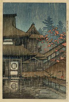 Kawase Hasui (Japanese: 1883-1957): Sendai Yamadera; 1933; color woodcut.