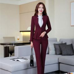 Elegant Maroon Formal Professional Pant suits With Tops And Pants - corporate attire women Casual Work Outfits, Office Outfits, Classy Outfits, Office Uniform, Formal Outfits, Suit Fashion, Fashion Pants, Fashion Outfits, Mode Costume