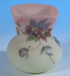 Thomas Webb & Sons Beautiful Prunus Decorated Burmese Toothpick Holder