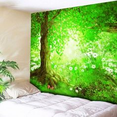 Wall Hanging Flower Forest Printed Tapestry
