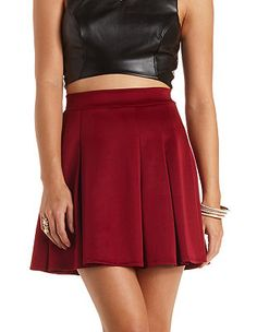 Pleated High-Waisted Skater Skirt: Charlotte Russe - http://AmericasMall.com/categories/womens-wear.html
