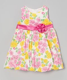 Another great find on #zulily! Pink & Yellow Floral Bubble Dress - Infant, Toddler & Girls by Nannette #zulilyfinds