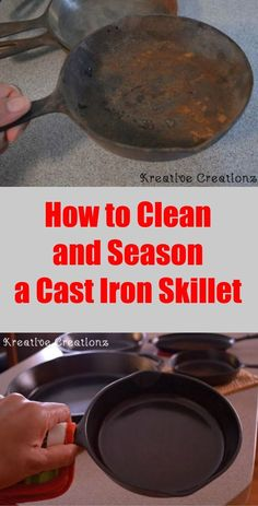 Am I the only one who collects cast iron skillets and never uses them? I had this grand dream of collecting them, cleaning them, cooking with them, and having a… Deep Cleaning Tips, House Cleaning Tips, Spring Cleaning, Cleaning Hacks, Iron Cleaning, Cleaning Products, Season Cast Iron Skillet, Clean Cast Iron Skillet, Cast Iron Care