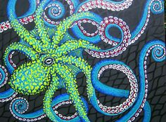 """Octopus Painting by artist Kerry C. 48"""" x 60"""" acrylic on canvas with texture. www.facebook.com/sugarskullshoppe"""