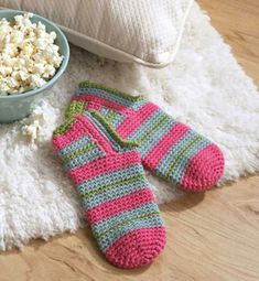 Cute crochet socks to keep your toes warm this winter.
