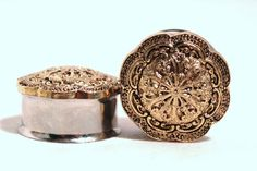 Gold Tribal Flower Plugs 3/4 7/8 Inch 19mm 22mm by arksendeavors, $30.00