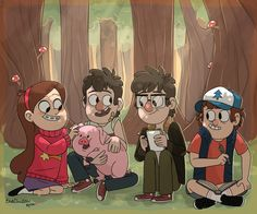 Mabel Pines,Dipper Pines,Waddles,Stanford Pines,Stanley Pines