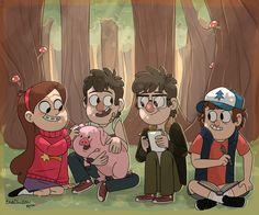Mabel Pines,Dipper Pines,Waddles,Stanford Pines,Stanley Pines