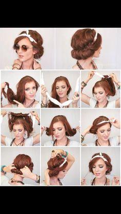 New Hair Styles Short Retro Beauty Ideas Scarf Hairstyles, Pretty Hairstyles, Teenage Hairstyles, Hair With Bandana, Bandana Hairstyles For Long Hair, Wedding Hairstyles, Bohemian Hairstyles, Simple Hairstyles, Latest Hairstyles