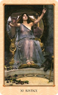 XI Justice in the Tarot of Delphi: Circe, protectress of her realm, tests Ulysses for intelligence and worthiness. This is institutional justice. Circe merges the ideal of justice with its practical implementation in the world. Ulysses arrives prepared and ready to deal.
