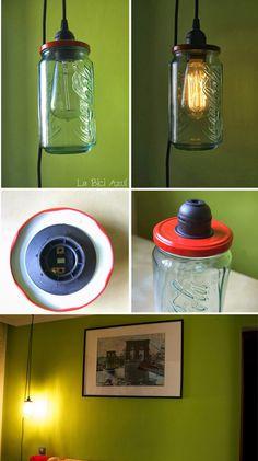 Lámpara colgante con frasco de cristal