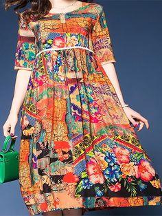 c9cca9d0ef2 Women's Boho Loose A Line Dress - Floral Print High Waist Spring Red L XL  XXL