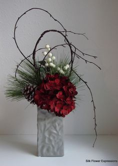 Modern Christmas Silk Flower Arrangement with Shaped Branches, Red Hydrangea, and Iced White Berries. Christmas Flower Arrangements, Modern Flower Arrangements, Christmas Flowers, Winter Flowers, Christmas Centerpieces, Silk Flowers, Christmas Wreaths, Christmas Decorations, Xmas