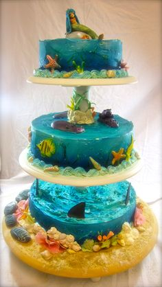 Underwater world cake - I made this cake for my kids joint birthday party. Coming up with a theme both my 7 year old daughter and 4 year old son liked took a while, but this pleased both. Sharks for Cedric and a mermaid for Cherina. The hippos were requested by both :)