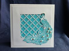 "Tiffany Blue & White ""Peacock""  card  Invitation embellished with tear shape ivory pearls Handmade,Chic Wedding Bridal shower with envelopes"