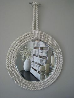 Nautical Rope Mirror, Creative Nautical Home Decorating Ideas, http://hative.com/creative-nautical-home-decorating-ideas/,