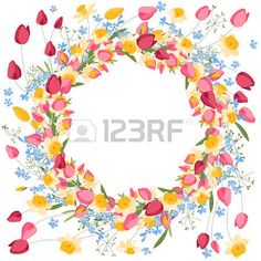 Detailed contour wreath withtulips and daffodils isolated on white Round frame for your design greet Stock Vector Round Frame, Flower Frame, Daffodils, Contour, Vector Art, Your Design, Frames, Greeting Cards, Clip Art