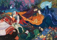 """em-niwa: """" I made this for AOAA! You can buy the book with this and more art by 80 other good people in it, right here As promised: Eönwë, Mairon, Melian and Ilmarë relaxing in Irmo's garden after a. Kunst Inspo, Art Inspo, Art And Illustration, Animal Illustrations, Character Illustration, Psychedelic Art, Arte Sketchbook, Fantasy Kunst, Pretty Art"""