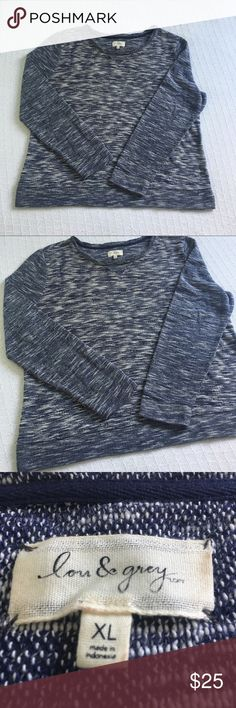 """•Lou & Grey• Crew Neck Sweater Lou & Grey. Navy and Off White Crew Neck Sweater. Excellent Used Condition. Split Side Hem. Size X Large. Measurements... 23"""" armpit to armpit; 26.5"""" shoulder to bottom hem length; 29"""" sleeve length. {{{ Bundle with another item to save 15% }}} Smoke Free Home. Lou & Grey Sweaters"""