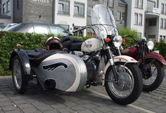 Vintage Moto Guzzi V7 Special with Stoye sidecar with engine turning and white paint job