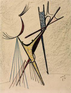 Julio González Aerial Figure 1941 Graphite, crayon and ink on paper