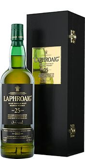 Laphroaig Single Malt Whisky - 25 Year Old    is the perfect marriage of sherried, oaky flavours from the European Oloroso Sherry Casks and the creamy, smooth, sweet flavours from the ex-American Bourbon Barrels. The Oloroso Sherry Casks and ex-American Bourbon Barrels were filled with newly distilled Laphroaig spirit from day one.
