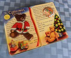 "Linda lata en forma de libro de Silver Crane - Olive Can Co. con la historia ""Las Navidades de Teddy"" / The Christmas Teddy tin canister embossed bear & story book Olive Can Co."
