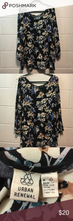 Urban outfitters floral, long sleeved mini dress Floral, loose mini dress from Urban Outfitters, size medium Urban Outfitters Dresses Mini