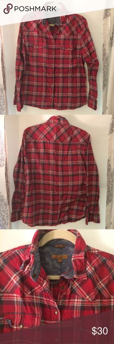 Jachs Girlfriend Red Flannel Top, Size Large Jachs Girlfriend Red Flannel Top, Size Large Jachs Tops