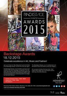 Hennessy Park Hotel - Backstage Awards 2015. Tel: 403 7200
