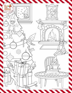 coloring pages/elf on a shelf  christmas elf on shelf