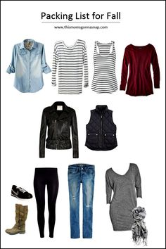 Mom Style {Minimalist Packing List for Autumn}. I like everything but the shoes.